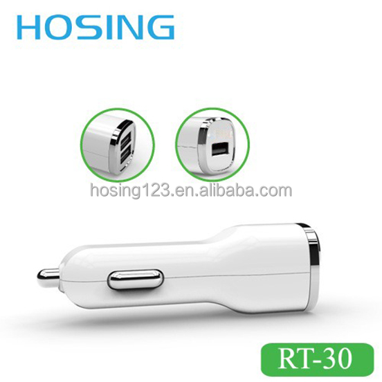 Intelligent stable Current transmission 5v 2.1A 2USB Port Car Charger with/without USB data cable Factory Supply