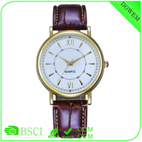 Golden case white dial high quality brown leather srtrap 2016 Alibaba express quantum watch