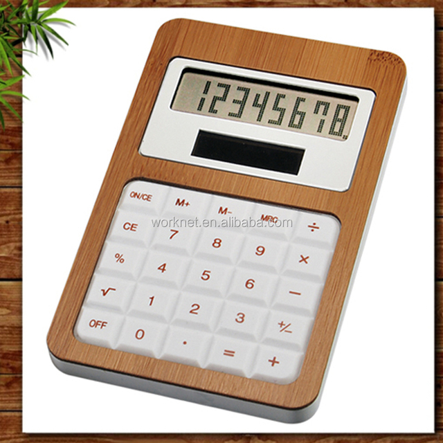 Shenzhen Worknet handmade craft eco-friendly 8 digits solar bamboo desktop calculator