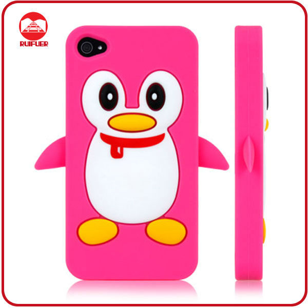 Hot Sale Soft 3D Silicone Penguin Animal Shaped Phone Cases for Iphone 4