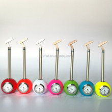 Golf Putter Club Ballpoint Ball Pen Stand Holder with Clock Desktop Gift Souvenir