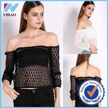 Yihao New Sexy Fashion Women's Long Sleeve T Shirt Hollow clothing Off Shoulder Tops Boho Lace Blouse