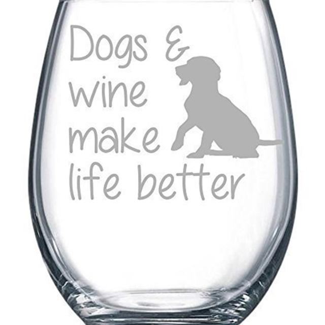 Amazon hot sale Dogs & wine make life better stemless wine glass