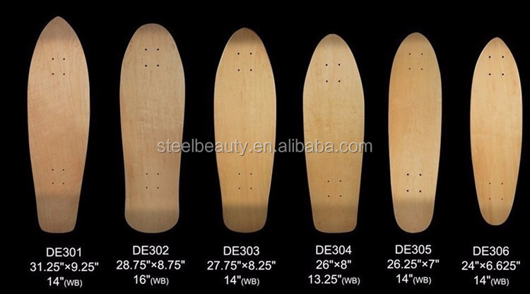 OEM 8 plys Canada maple with decorative veneer longboard skate board deck DE426,can print logo, pressed by 100% epoxy glue
