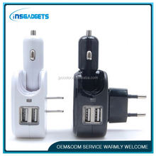 Wholesale usb car charger adapter ,H0T069 for iphone car/home 2 in 1 charger , multi usb port car charger
