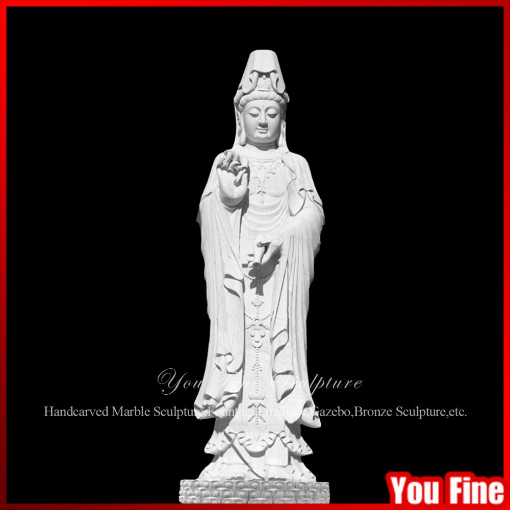Natural White Marble Goddess Of Mercy Guan Yin Statue