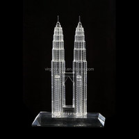 Factory direct price custom made crystal Petronas Twin Towers model
