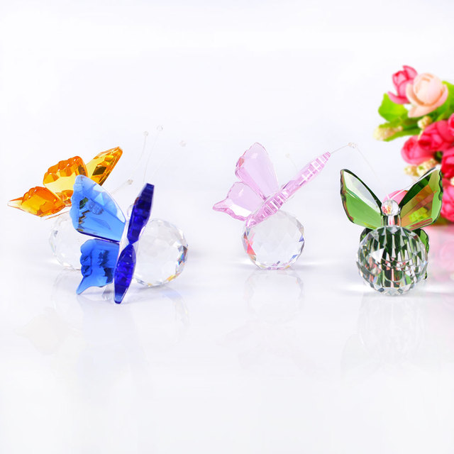 Crystal craft butterfly figurines trophy crystal plaque gift