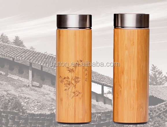 bamboo stainless steel vacuum flask manufacturer double wall bamboo thermo bottle