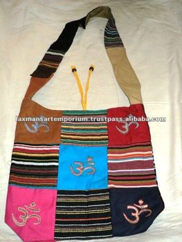 om sign patchwork indian fashion bags