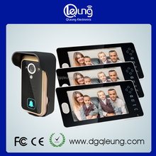 7 inch TFT screen Wireless Handfree Color Video door Phone with three Monitor and one Camera