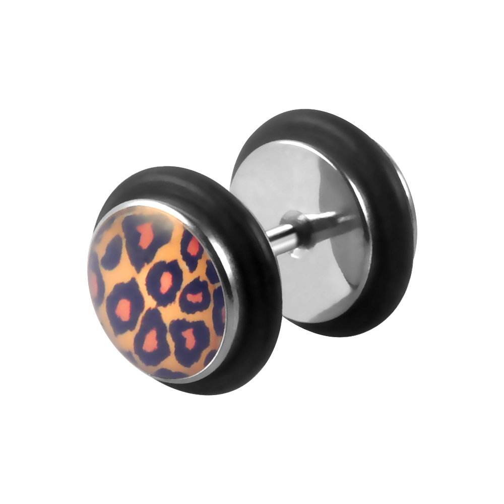Black Double Disk Epoxy Covered Ear Tunnel Leopard Print Design Fashion Body Piercing Jewelry