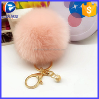 Women Bag Fur Key Chain Rabbit PomPom with Pearl For Bag charm Car Key Chain