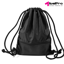 Outdoor Hiking Storage Black Cotton Drawstring Bag With Zipper Pockets