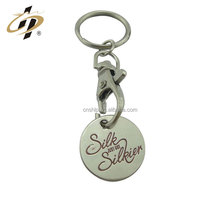 Fancy custom supermarket shopping metal lettering christmas trolly token coin keychain holder