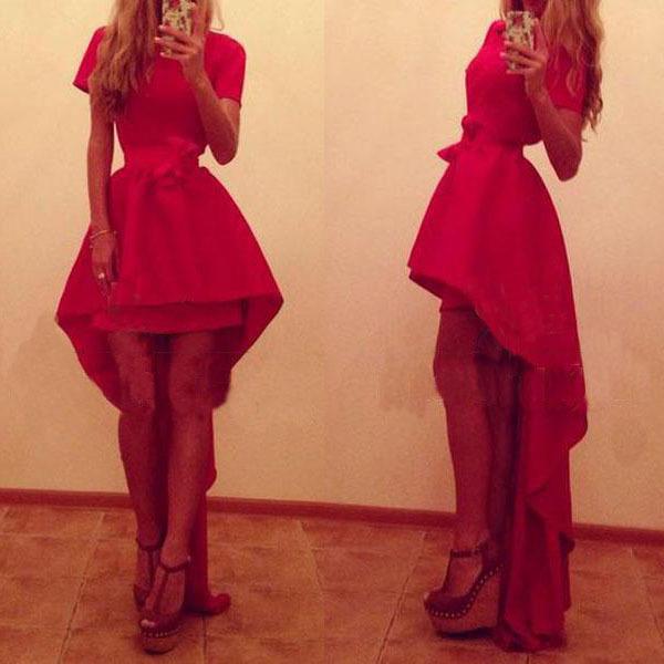 M651 D.Y fashion ladies sexy red dress irregular long party dress