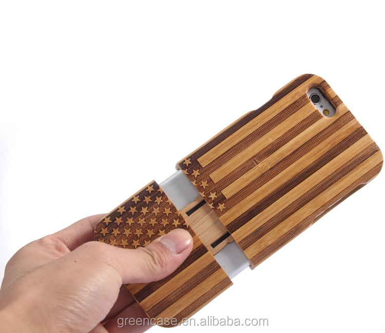 Bamboo Material with Tree/Butterfly/Stars and Stripes/Union Flag Pattern Cell Phone Case for Iphone6/6s Plus