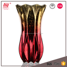 Wholesale home goods decorative unique shaped gold plated glass vase