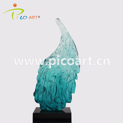Beautiful feather art clear resin sculpture