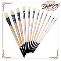 High quality 12pcs wooden handle bristle hair best artist watercolor paint brushes pen tip set free art supply samples