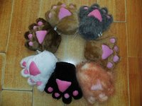 Promotional lovely winter warmly plush animal claw/paw gloves with customzied LOGO on palm or back