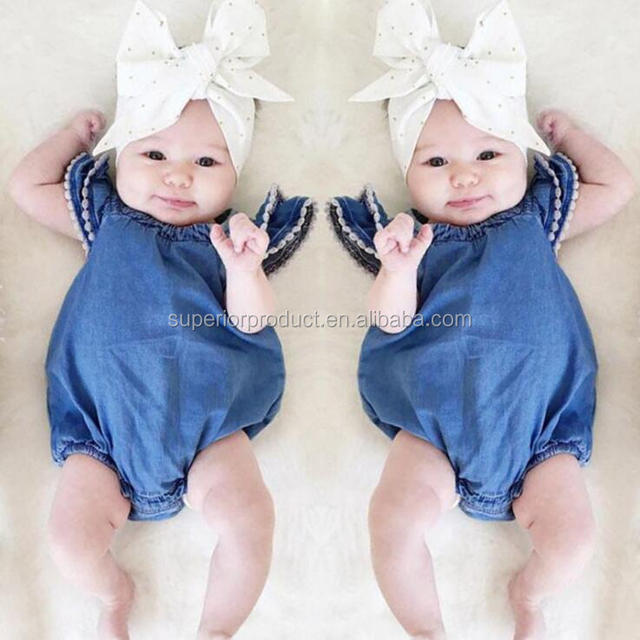 Bodysuits Toddlers Cap Sleeve Jeans Blue Baby Romper Girls Denim Kids Clothing 100% Cotton