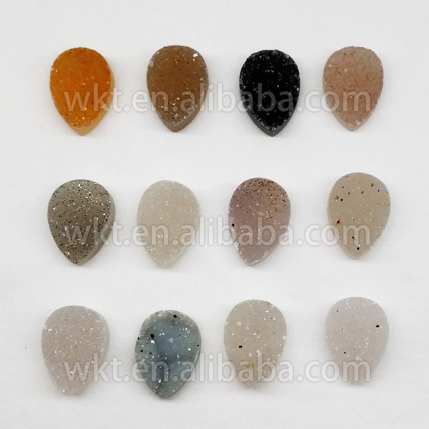 Natural druzy stone for pendants, rings setting, natural cabochon flat druzy agate stone WT-GA024