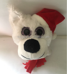 Hot sale stuffed plush animal cute big eyes dog with red santa hat and scarf
