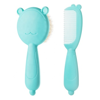 CE Approved wholesale natural rubber silicone baby hair brush and comb set