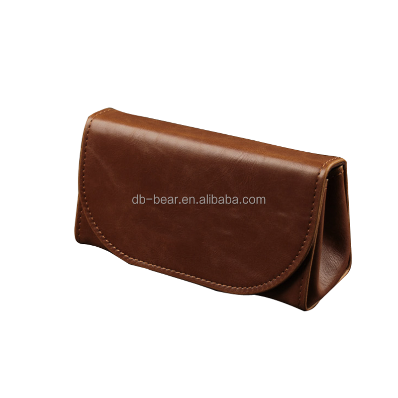 retro brown real leather eyewear case for sunglasses case