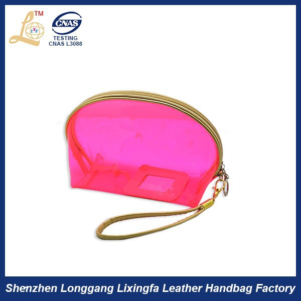 Custom cute mini frosted pvc ziplock gift bag clutch cosmetic bag with mirror