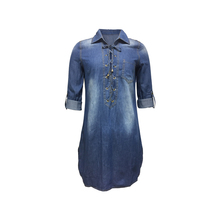 Fashion Collection Women Ladies 100% Cotton Casual Long Sleeve Blue Color Lace-up Denim Jeans Dress