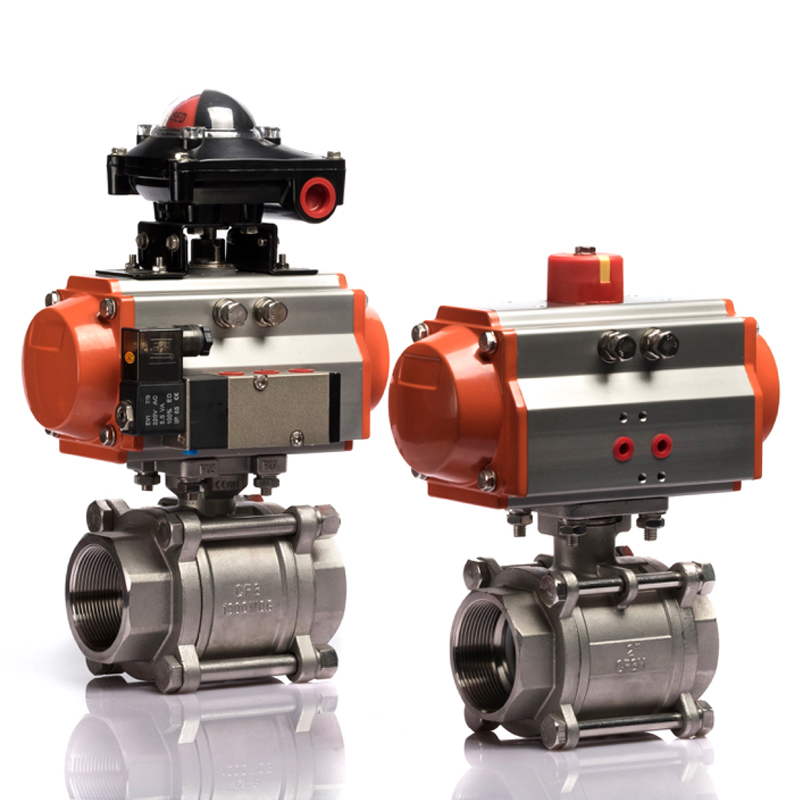 DN25 ISO standard double acting stainless steel pneumatic actuator ball <strong>valve</strong>