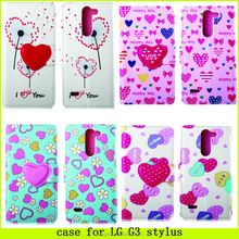 2015 new design !! heart of love pattern case for LG G3 stylus, case for LG G3 stylus