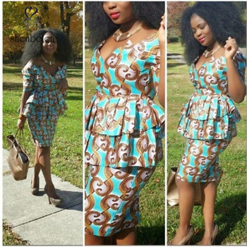 Fashion African print dress style, dashiki african dress clothing, two piece african dress with wax fabric M2855