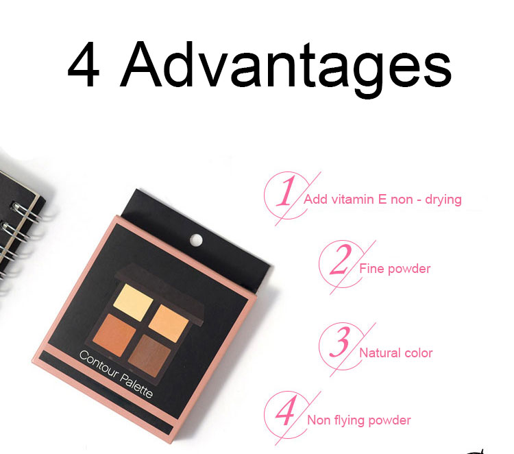 4 color face contour foundation cream palette for private labels