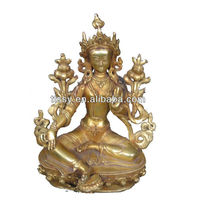 Antique female bronze buddha statue