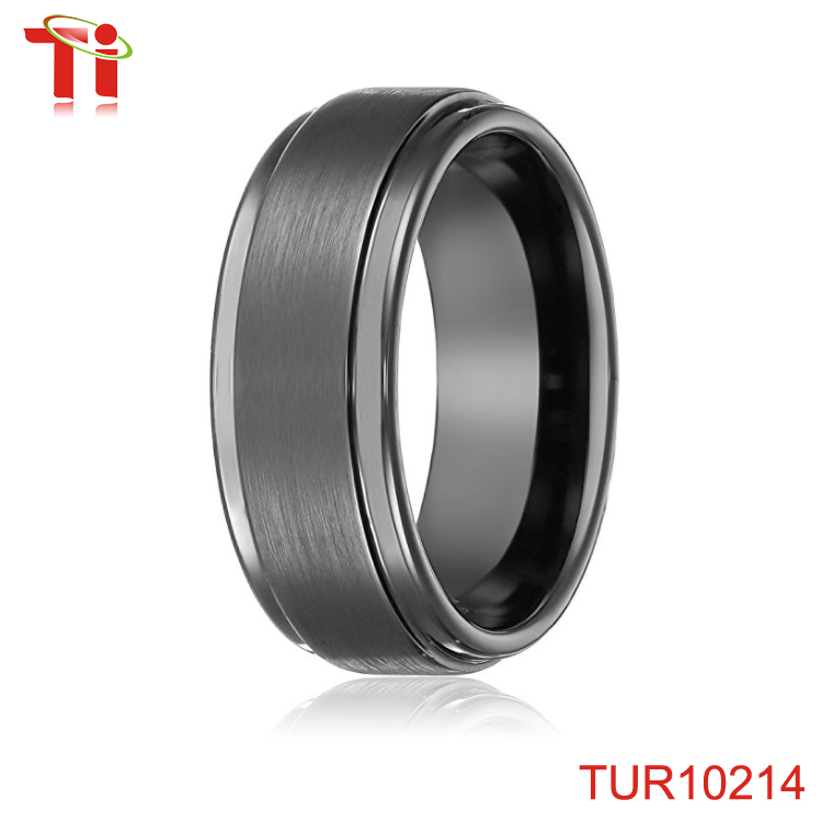 8mm Black High Polish Tungsten Carbide Men's Wedding Band Ring in Comfort Fit and Matte Finish Sizes 5 to 16
