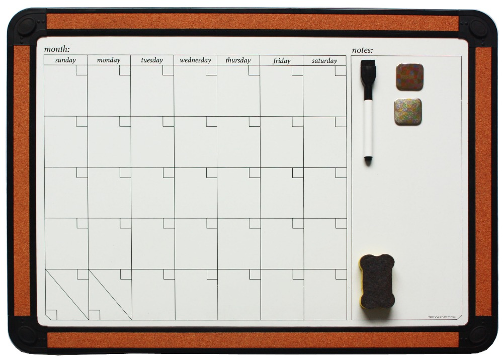 11''x17'' ABS Frame month planner magnetic dry erase cork board white board