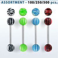 Bulk body jewelry: Assortment of surgical steel tongue barbell with vertical zebra striped