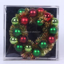 2016 Promotional plastic christmas hanging ball wreath with TINSEL