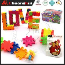 Plastic Building Blocks Cube with Candy Toys
