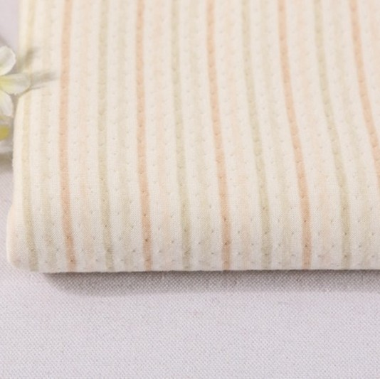 wholesale stripe knit jacquard recycle thick natural colour cotton stripe knit fabric,<strong>poly</strong> cotton fabric and price