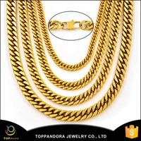Wholesale 24K Gold Plating Cool Chunky Chain Stainless Steel Fashion Custom Chain Necklace Stainless Steel Chain Necklace