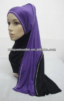 JL045 cotton jersey black with colors combine mulim scarf,muslim hijab