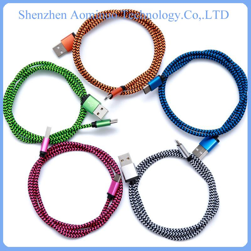 consumer electronics flat micro usb cable cotton braided cable for macbook /nokia