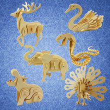 1)3D wooden animal puzzle. DIY wooden puzzle toys Childen educational puzzle toys
