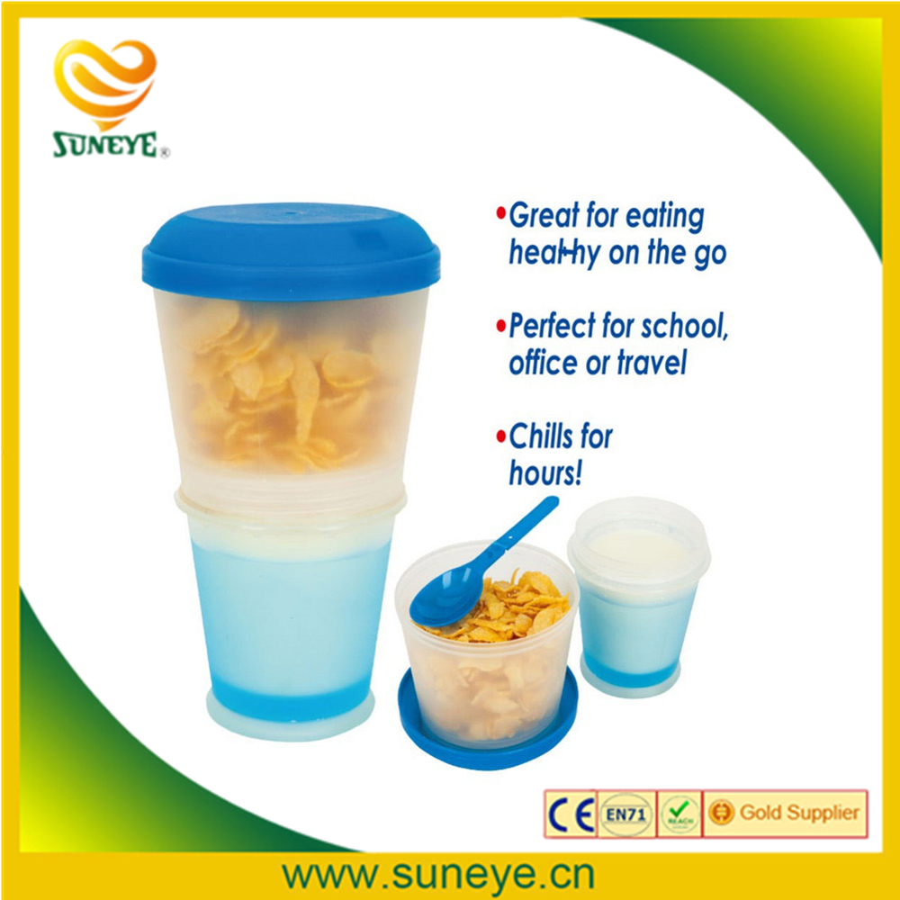 Cereal On The Go Food Water Bottle Folded Spoon & Gel-Insulated Freeze Gel Travel Food Storage Snack Container Keeper