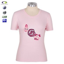 Round neck short sleeves beautiful girl t-shirt