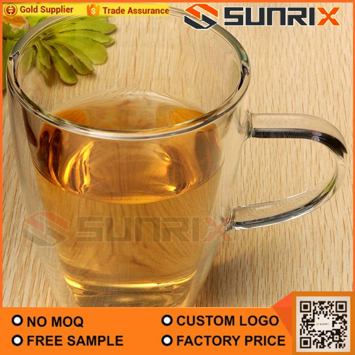 Double Walled Heatproof Clear Big Glass Tea Cup With Handle